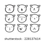 set of cat faces with different ... | Shutterstock .eps vector #228137614