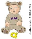 a cute tired boy in a bear  ... | Shutterstock .eps vector #228145789