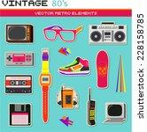 vintage retro 80's vector...   Shutterstock .eps vector #228158785
