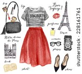 watercolor fashion illustration.... | Shutterstock . vector #228161761