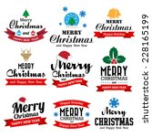 Christmas and Happy new year collection of calligraphic and typographic design with labels, Illustration eps10 - stock vector