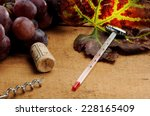leaf on a wooden table with...   Shutterstock . vector #228165409