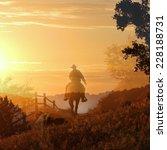 Sunset Cowboy Riding A Horse...