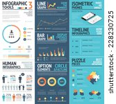 Corporate infographics vector elements in flat business colors | Shutterstock vector #228230725