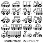 Vector Illustration of cartoon Car set - Coloring book - stock vector