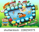 kids playing board game theme | Shutterstock .eps vector #228254575