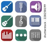 flat guitar and musical icon...   Shutterstock .eps vector #228258199