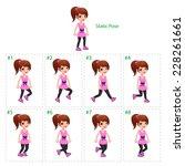 animation of girl walking. | Shutterstock .eps vector #228261661