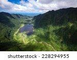 Aerial View Reunion Island Lake.