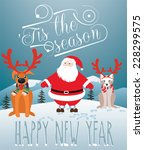 christmas card. santa with dog... | Shutterstock .eps vector #228299575