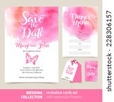 vector set of invitation cards... | Shutterstock .eps vector #228306157