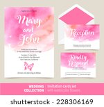 vector set of invitation cards... | Shutterstock .eps vector #228306169