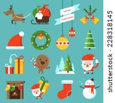 christmas icon flat design | Shutterstock .eps vector #228318145