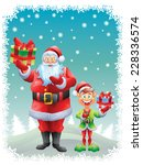 santa claus and elf holding... | Shutterstock .eps vector #228336574
