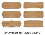 set of 6 shapes wooden sign... | Shutterstock .eps vector #228365347