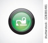 excavator glass sign icon green ...