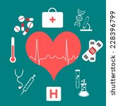 medical background and heart... | Shutterstock . vector #228396799