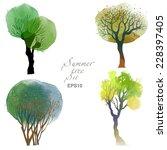 Summer Trees. Watercolor Vecto...