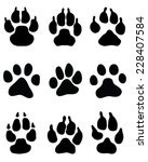 black paw print on white... | Shutterstock .eps vector #228407584