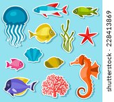 Marine Life Set Of Sticker ...