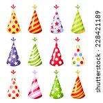 set of colorful party hats.... | Shutterstock .eps vector #228421189