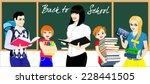 vector teacher and school kids... | Shutterstock .eps vector #228441505