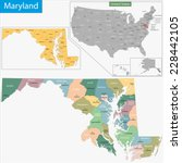 map of maryland state designed... | Shutterstock .eps vector #228442105