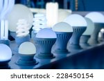 Small photo of some led lamps blue light science and technology background