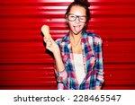 outdoor closeup fashion... | Shutterstock . vector #228465547