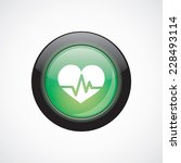 heart pulse glass sign icon...