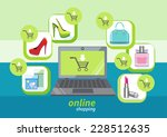 online shopping icons store... | Shutterstock . vector #228512635