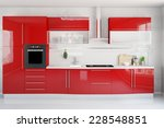 Stock photo clean modern red kitchenette in a kitchen d rendering 228548851