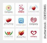 set of 9 vector heart elements... | Shutterstock .eps vector #228554881
