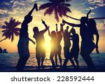 people enjoying party by the... | Shutterstock . vector #228592444