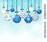 christmas balls on blue sky... | Shutterstock .eps vector #228601324