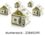 houses from dollars on white... | Shutterstock . vector #22860190