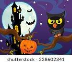 cartoon halloween scene   owl... | Shutterstock . vector #228602341
