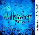 blue halloween hand drawn... | Shutterstock . vector #228611029