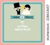 wedding couple cartoon card... | Shutterstock .eps vector #228613657