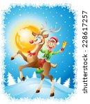 elf riding reindeer with bell... | Shutterstock .eps vector #228617257