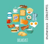 breakfast concept with fresh... | Shutterstock .eps vector #228619951