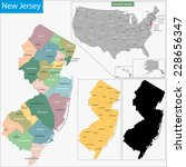 map of new jersey state... | Shutterstock .eps vector #228656347