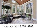 sun room in luxury home with... | Shutterstock . vector #228663769