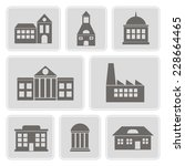 set of monochrome icons with... | Shutterstock .eps vector #228664465