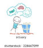 actuary with a gift in which... | Shutterstock .eps vector #228667099