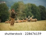 old man hunter waiting for his... | Shutterstock . vector #228676159