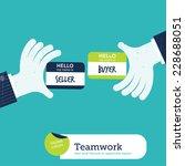 two hands exchanging visit... | Shutterstock .eps vector #228688051