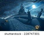halloween creepy night in the... | Shutterstock . vector #228747301