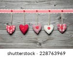 red hearts hanging over old... | Shutterstock . vector #228763969