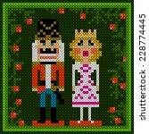 cross stitch christmas card... | Shutterstock .eps vector #228774445